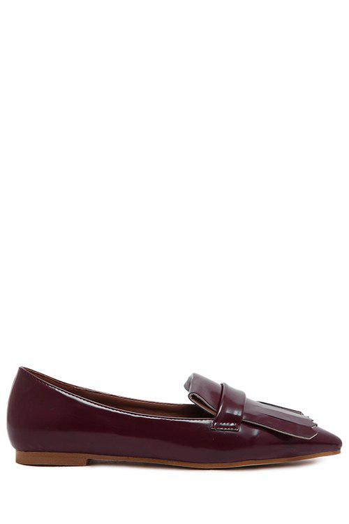 Retro Solid Color and Fringe Design Women's Flat Shoes - WINE RED 39