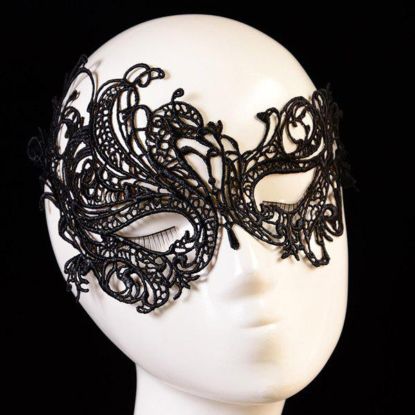 Fashionable Butterfly Shape Hollow Out Lace Halloween Women's Party Mask - BLACK