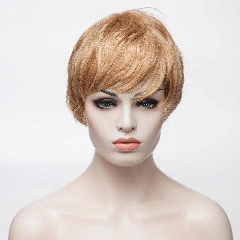 Sophisticated Short Fashion Fluffy Capless Full Bang Wavy Human Hair Wig For Women -
