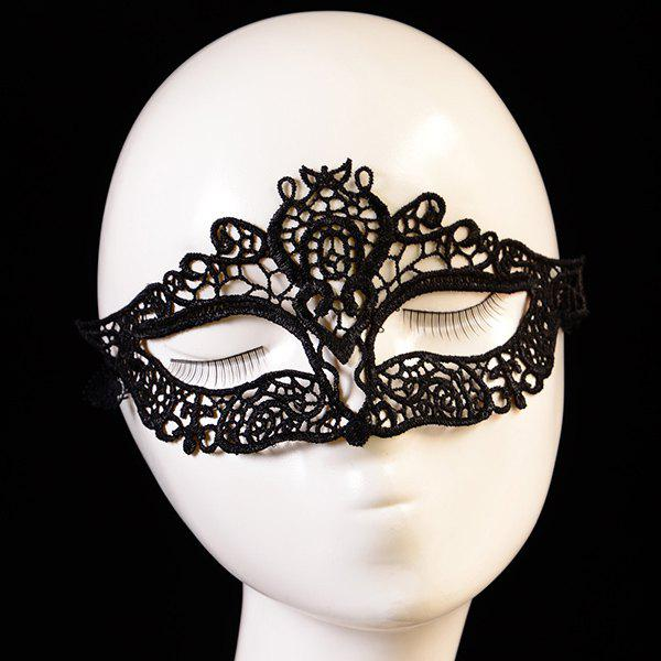 Chic Simple Black Hollow Out Half-Face Lace Halloween Party Mask For Women - BLACK