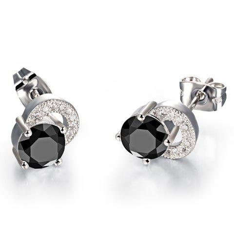 Pair of Chic Zircon Inlaid Stud Earrings For Women