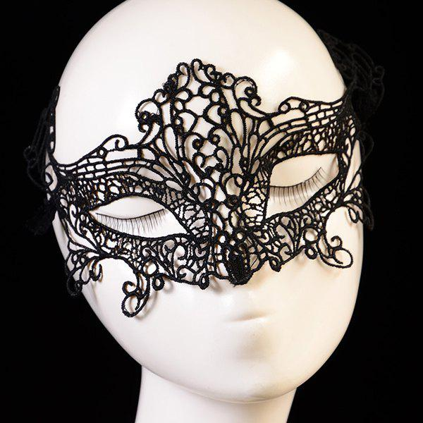 Fashionable Cut Out Half-Face Lace Halloween Party Mask For Women - BLACK