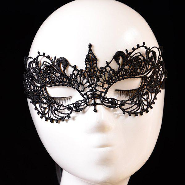 Gothic Crown Shape Cut Out Half-Face Lace Halloween Party Mask For Women - BLACK
