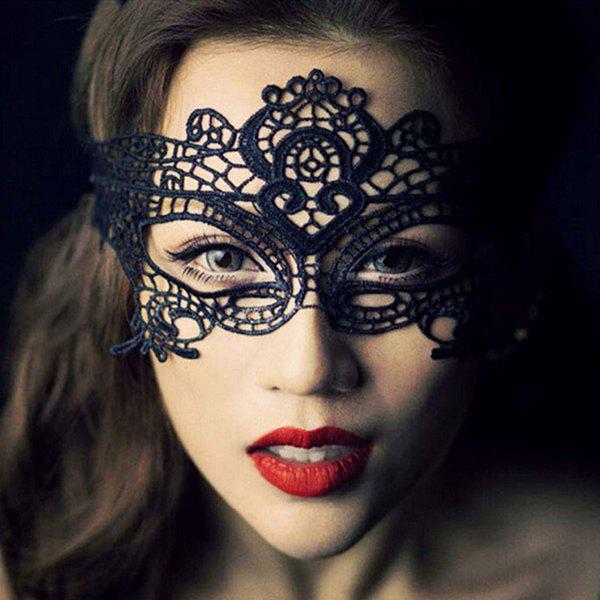 Fashionable Crown Shape Hollow Out Half-Face Lace Halloween Women's Party Mask - BLACK