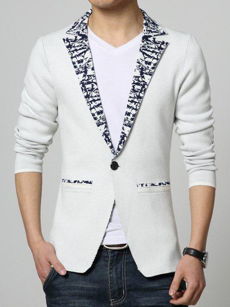Lapel Floral Edging Single-Button Long Sleeve Knitting Coat For Men - WHITE M