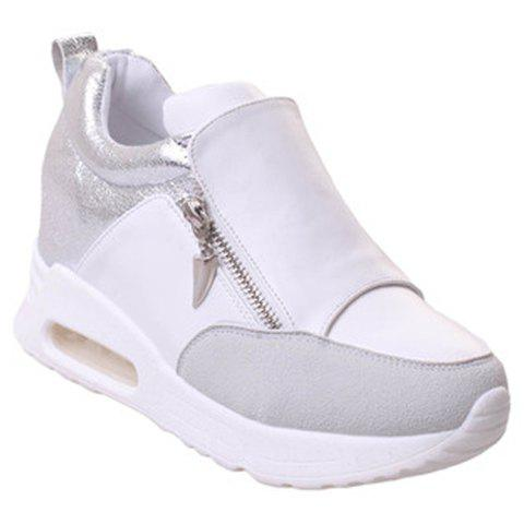 trendy splicing and zipper design athletic shoes for