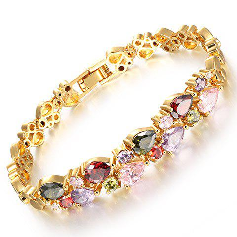 Faux Crystal Water Drop Bracelet - GOLDEN