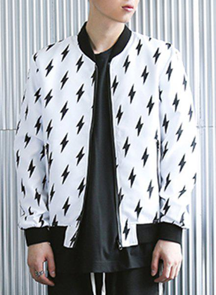 Stylish Rib Splicing Stand Collar Lightning Pattern Long Sleeve Men's Jacket - WHITE XL