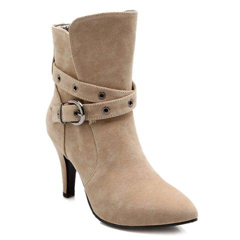 Fashion Suede and Buckle Design Ankle Boots For Women - OFF WHITE 38