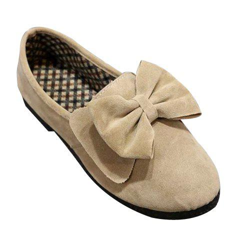 Elegant Solid Colour and Suede Design Flat Shoes For Women - OFF WHITE 36