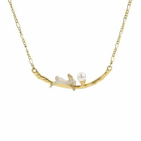Stylish Cute Bunny and Faux Pearl Design Pendant Necklace For Women - WHITE/GOLDEN