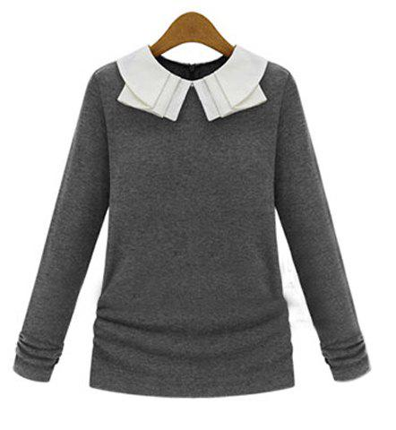 Preppy Peter Pan Collar Color Block Long Sleeve Women's Knitwear - GRAY L
