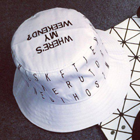 Stylish Letters Pattern Outdoor Men's Bucket Hat - WHITE