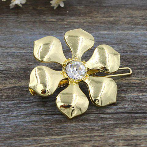 Delicate Elegant Zircon Inlaid Flower Shape Hairpin For Women - GOLDEN