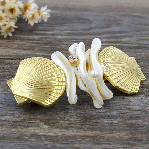 Elegant Rhinestone Inlaid Shell Shape Decorated Hairpin For Women