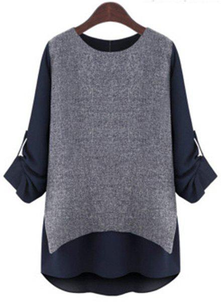 Casual Plus Size Round Neck Spliced Long Sleeve Blouse For Women - DEEP BLUE 3XL