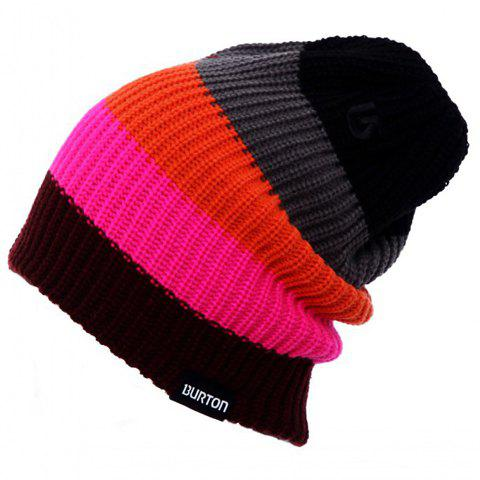 Chic Various Color Splice Stripe Pattern Women's Knitted Beanie - RANDOM COLOR
