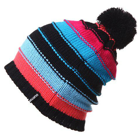 Chic Woolen Yarn Ball Embellished Color Splice Women's Knitted Beanie