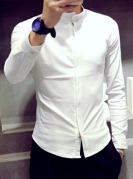 2018 slimming solid color stand collar zipper long sleeve for Solid color button up shirts