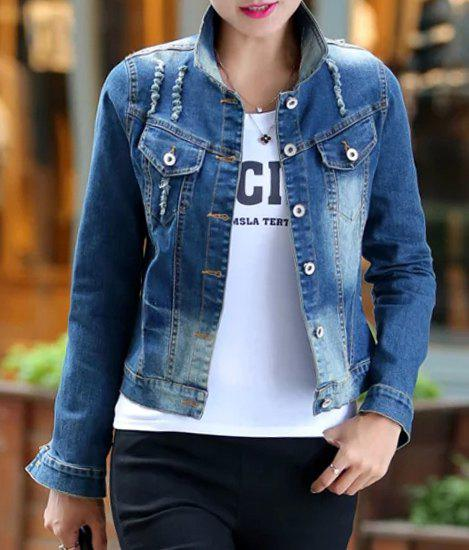 Fashionable Women's Shirt Collar Applique Destroy Wash Long Sleeve Denim Jacket - BLUE M