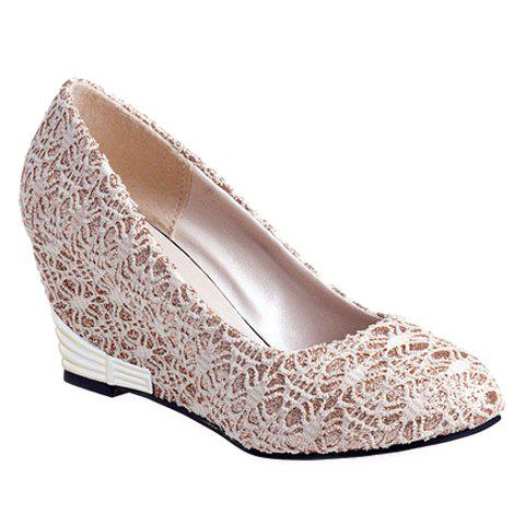 Elegant Lace and Round Toe Design Wedge Shoes For Women - OFF WHITE 39