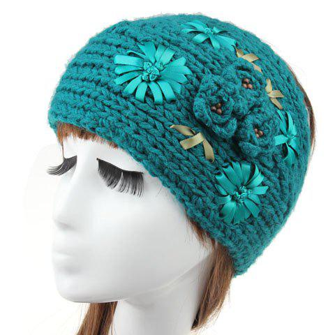 Chic Flower Shape and Buttons Embellished Women's Knitted Headband - RANDOM COLOR