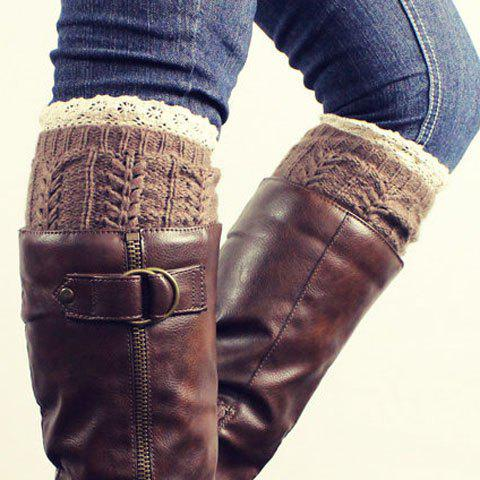 Pair of Chic Lace Edge Hemp Flower Jacquard Women's Knitted Boot Cuffs