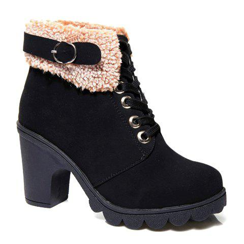 Retro Suede and Buckle Design Chunky Heel Ankle Boots For Women - BLACK 38