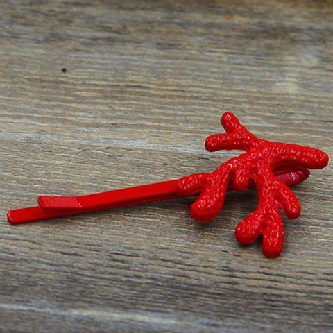 Classic Solid Color Coral Women's Hairpin - RED