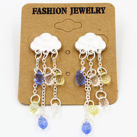 Pair of Faux Crystal Waterdrop Cloud Fringed Drop Earrings - WHITE GOLDEN