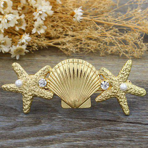 Trendy Rhinestone Starfish Shell Hairgrip For Women
