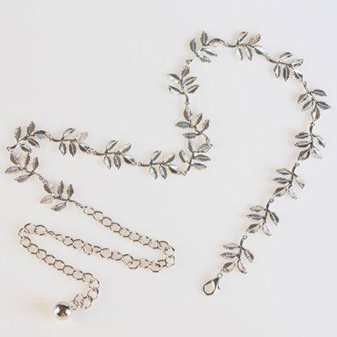 Chic Solid Color Leaf Shape Women's Metal Waist Chain - SILVER