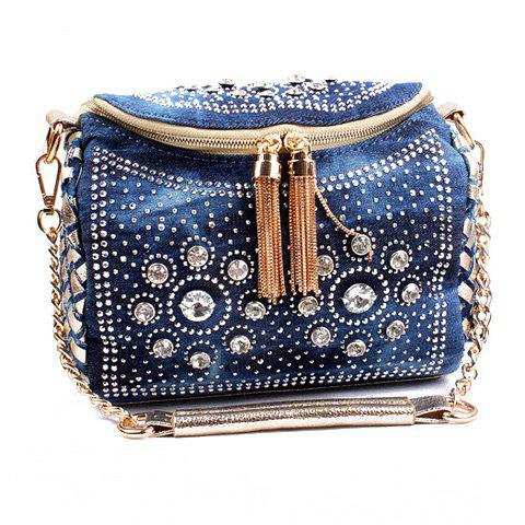 Stylish Rhinestones and Tassels Design Shoulder Bag For Women - BLUE