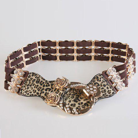 Chic Rose and Rhinestone Embellished Leopard Women's Elastic Waistband - COLORMIX