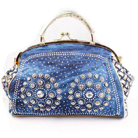 Stylish Woven Pattern and Rhinestones Design Tote Bag For Women - BLUE