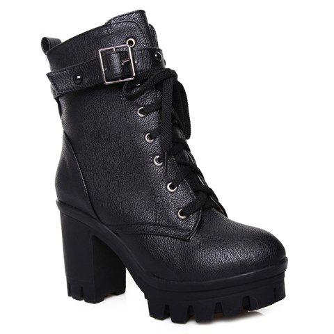 Fashionable Solid Colour and Buckle Design Boots For Women - BLACK 38