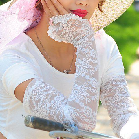 Pair of Chic Flower Solid Color See-Through Long Lace Fingerless Gloves For Women - COLOR ASSORTED