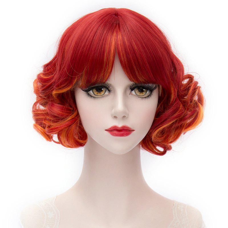 Trendy Lolita Harajuku Red Ombre Orange Synthetic Short Curly Capless Middle Part Women's Cosplay Wig - COLORMIX