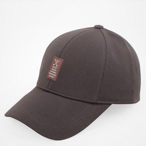 Stylish Labelling Rubber Embellished Solid Color Baseball Cap For Men