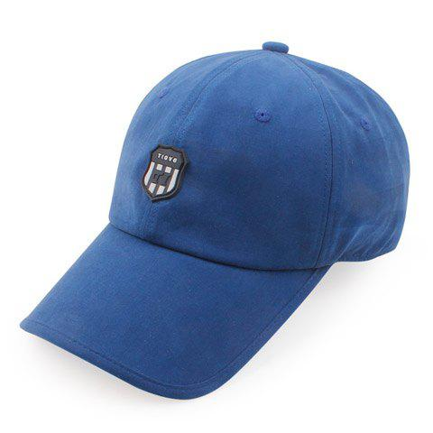 Stylish Shield Shape Rubber Embellished Solid Color Men's Baseball Cap - BLUE