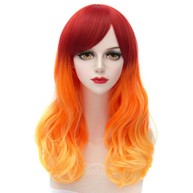 Trendy Japanese Style Side Bang Long Wavy Ombre Harajuku Lolita Synthetic Capless Women's Cosplay Wig - COLORMIX