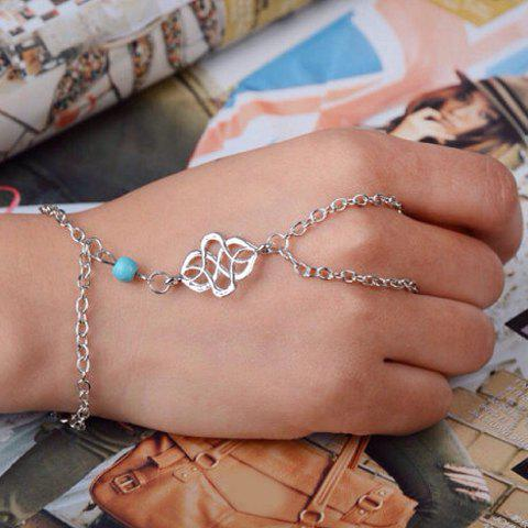 Turquoise Bead Bracelet with Ring - SILVER
