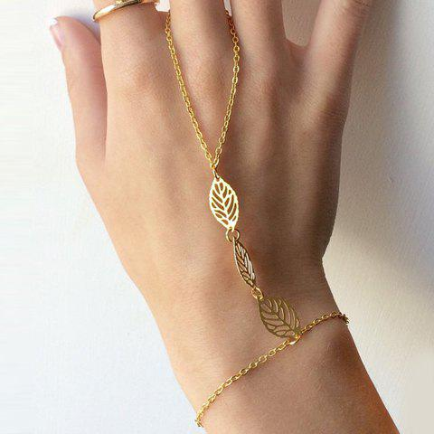 Hollow Out Leaf Bracelet with Ring - GOLDEN