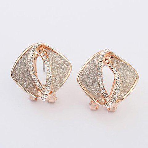Pair of Rhinestone Inlaid Hollow Out Earrings - WHITE