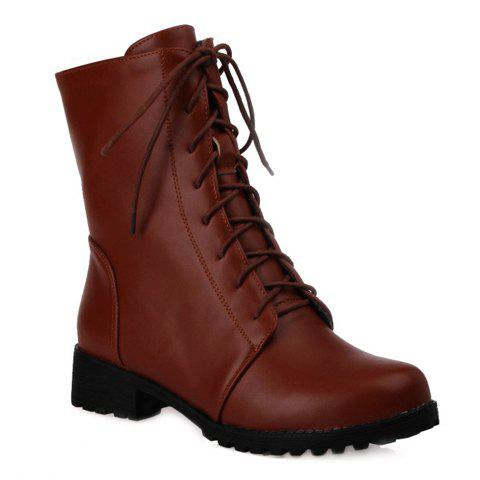 Concise Solid Color and Zipper Design Combat Boots For Women - BROWN 37