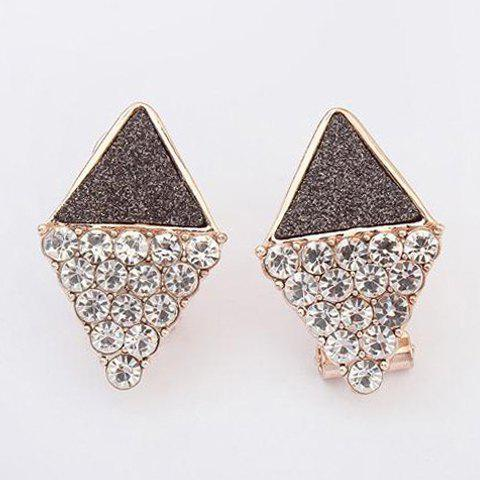 Pair of Stunning Delicate Rhinestone Inlaid Diamond Shape Earrings For Women - BLACK