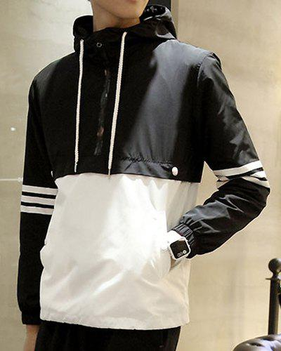 Fitted Hooded Trendy Stripe Print Two Color Splicing Long Sleeve Polyester Men's Jacket - BLACK L
