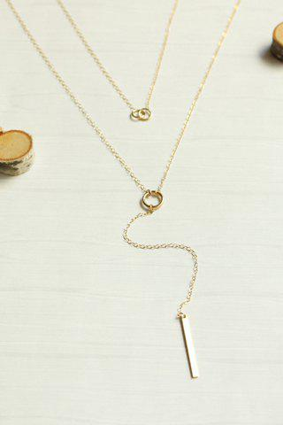 Layered Bar Circle Lariat Necklace - GOLDEN