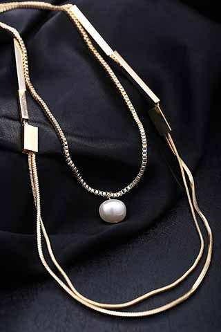 Stylish Chic Faux Pearl Layered Sweater Chain Necklace For Women - GOLDEN
