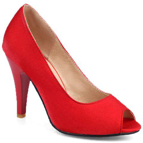 Elegant Stiletto Heel and Solid Colour Design Peep Toe Shoes For Women - RED 39